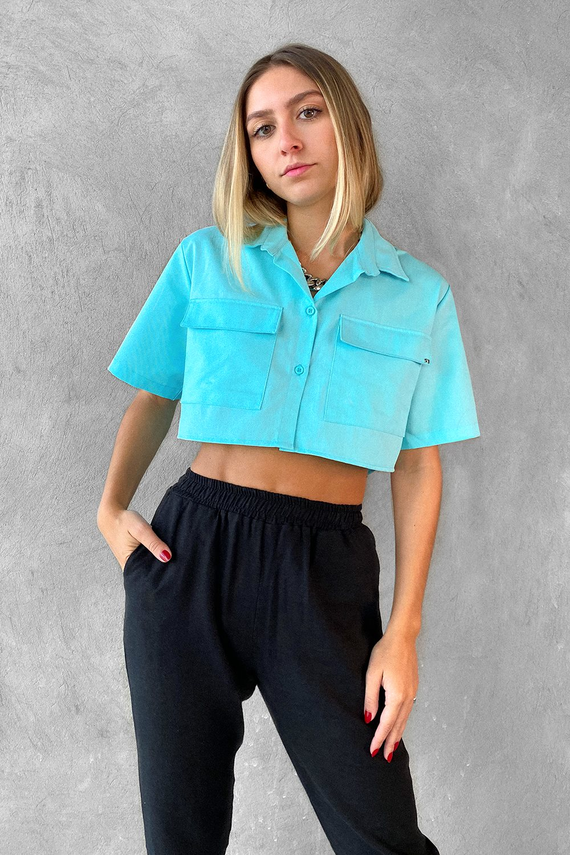 Camisa Cropped Azul Céu