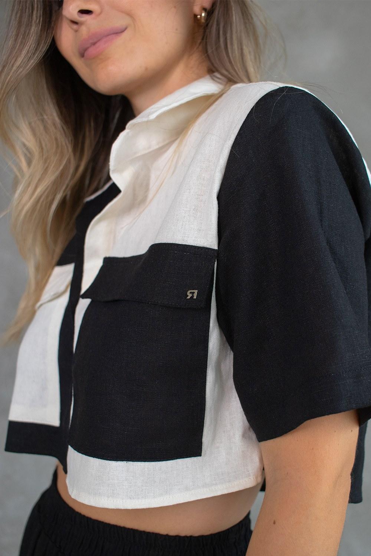 Camisa Cropped Duo Linho Preto + Off White