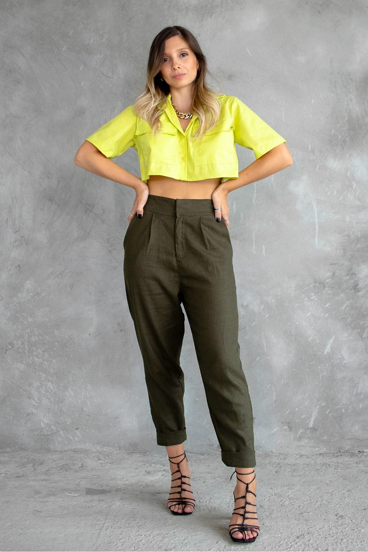 Camisa Cropped Verde Lima