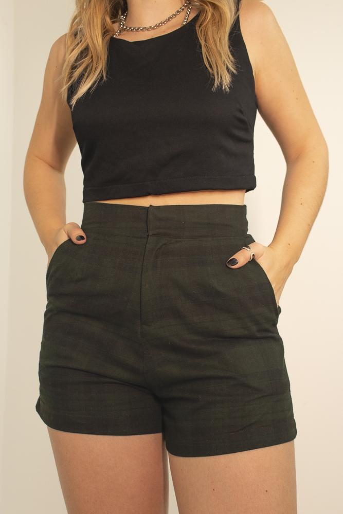 Shorts Alfaiataria Xadrez Verde
