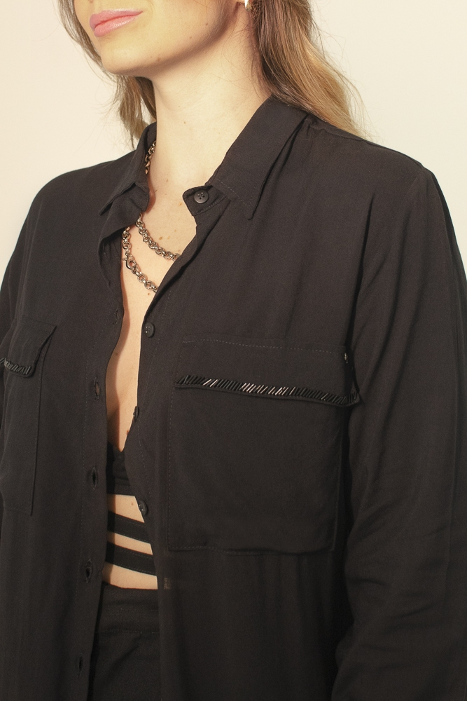 Vestido Camisa Preto Bordado
