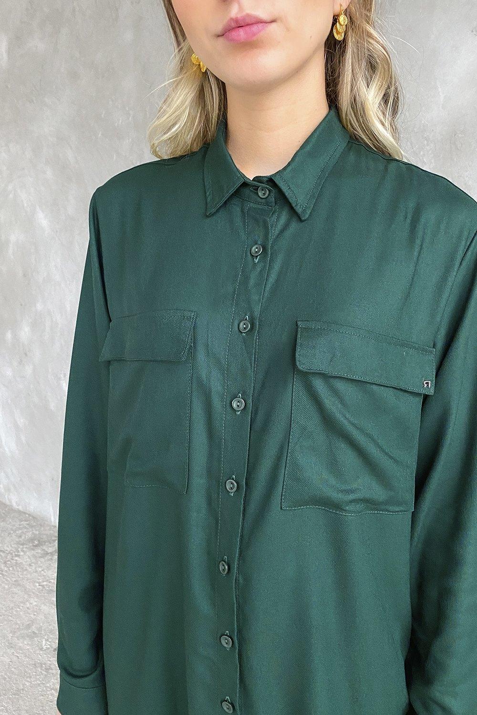 Vestido Camisa Verde Folha