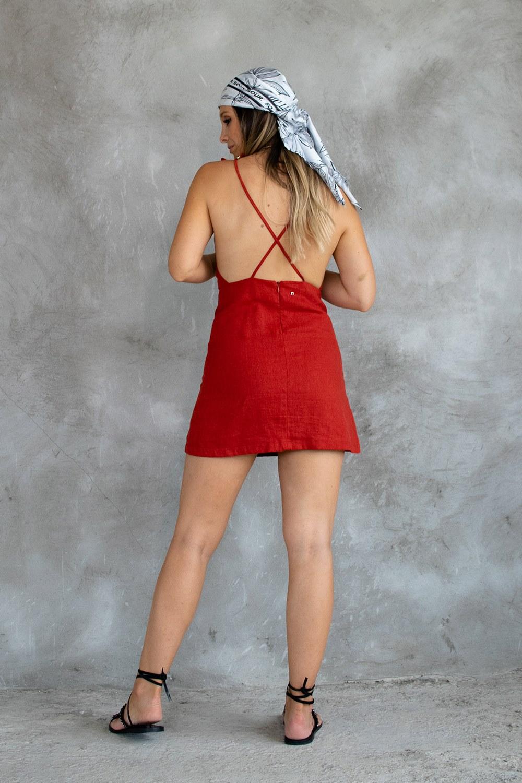 Vestido Laço Linho Telha
