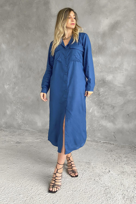 Vestido Longo Camisa Azul Clássico