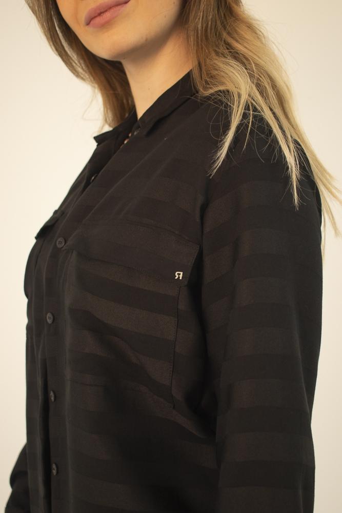 Vestido Longo Camisa Preto Listrado