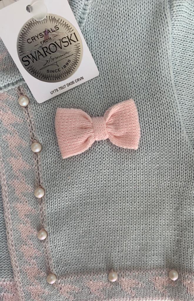 Kit Conjunto Bolero Pied Poule Azul Com Rosa e Manta Azul
