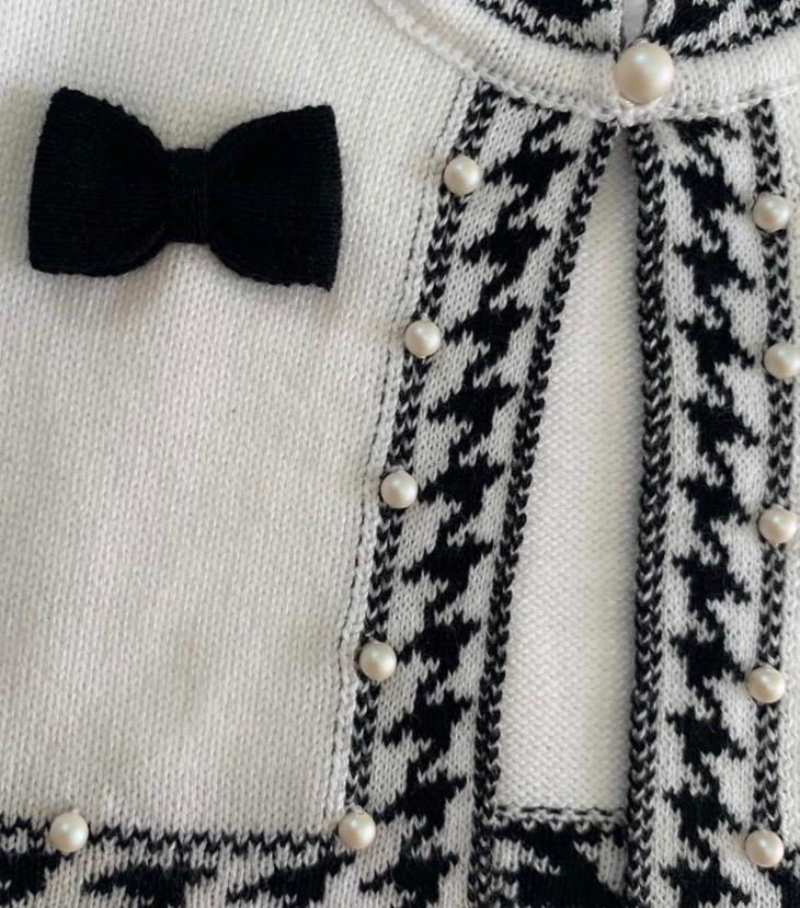 Kit Conjunto Bolero Pied Poule Preto Com Branco e Manta Branca