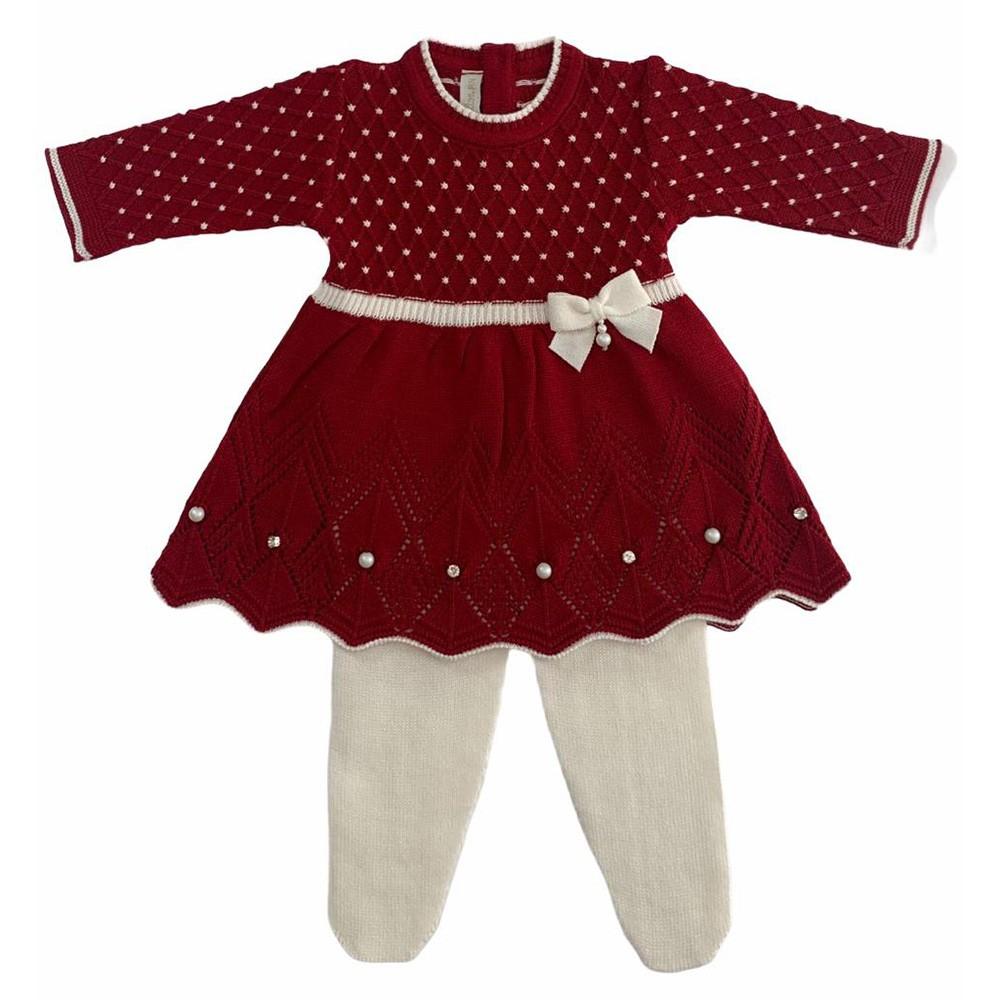 Kit Vestido Casinha de Abelha Vermelho e Branco e Manta Vermelha