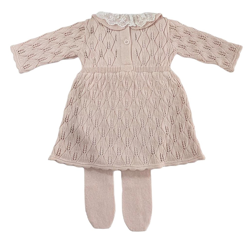 Kit Vestido com Manta Folhas Rosa Claro