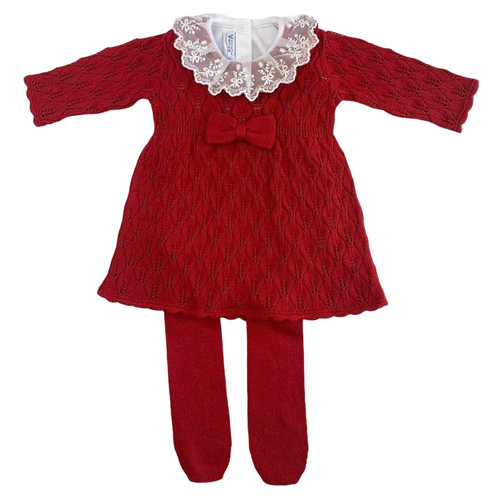 Kit Vestido com Manta Folhas Vermelho