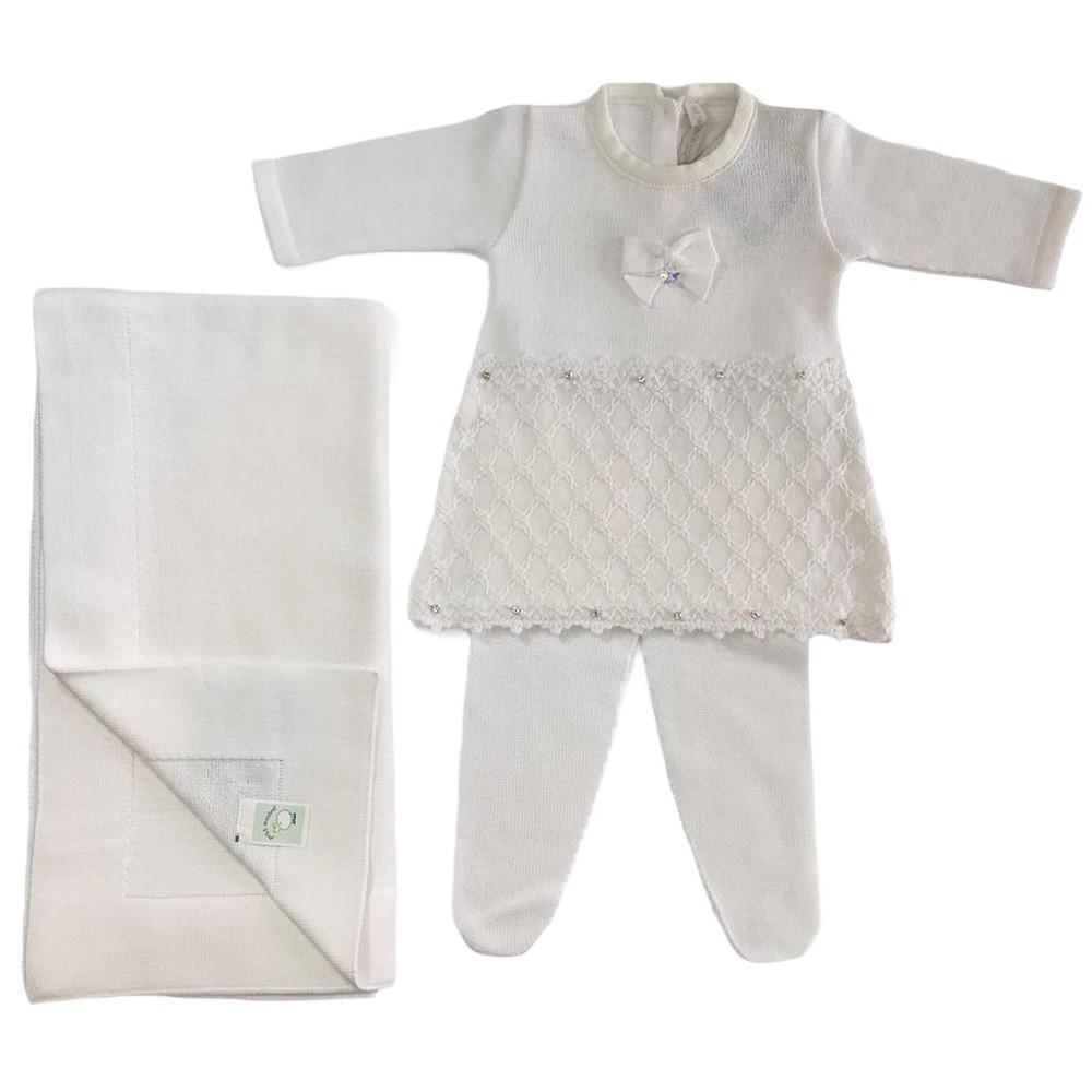 Kit Vestido Renda Florzinhas e Manta Branca