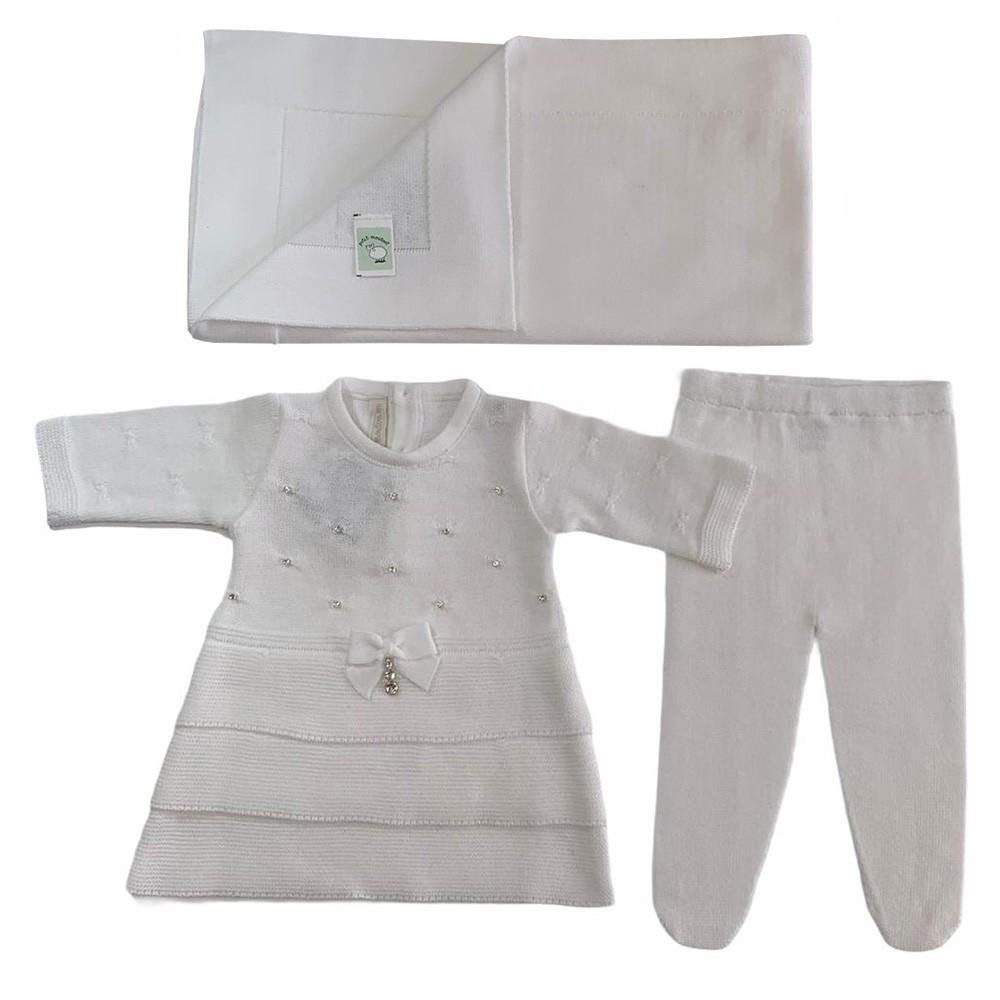 Kit Vestido Três Babados e Manta Branca