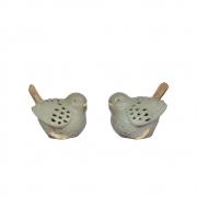 2 Passarinhos Verdes de Porcelana 11,5 Cm
