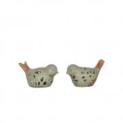 2 Passarinhos Verdes de Porcelana 7,5 Cm