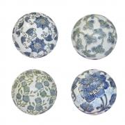 4 Bolas Decorativas de Porcelana Azuis e Brancas 10 Cm