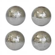 4 Bolas Decorativas de Porcelana Pratas 10 Cm