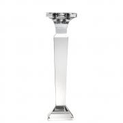 Castiçal de Cristal Lapidado Quadri G 25 Cm