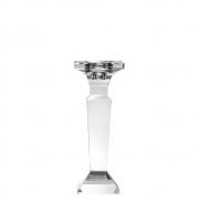 Castiçal de Cristal Lapidado Quadri M 19 Cm