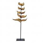 Estatueta Folhas Douradas de Metal Heliconia 100 Cm