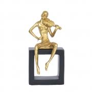 Estatueta Preta e Dourada Musicista Violino 20 Cm