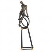 Estatueta Preta e Dourada Mondo 27 Cm