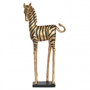 Estatueta Zebra Preta e Dourada G 40 Cm