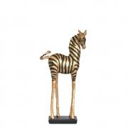 Estatueta Zebra Preta e Dourada P 31,5 Cm