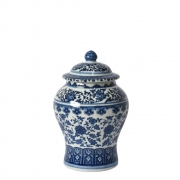 Potiche Branco e Azul Porcelana Ming Beihai C 20 Cm