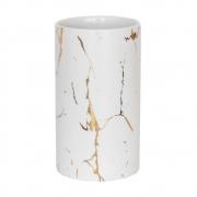 Vasinho Branco e Dourado Marmorizado Lacron G 14 Cm