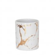 Vasinho Branco e Dourado Marmorizado Lacron M 9,5 Cm