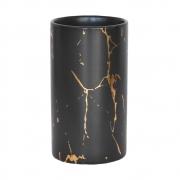 Vasinho Preto e Dourado Marmorizado Lacron G 14 cm