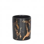 Vasinho Preto e Dourado Marmorizado Lacron M 9,5 Cm