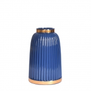 Vaso Azul e Dourado Azuline P 20 Cm