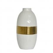 Vaso Branco e Dourado Orion G 24 Cm