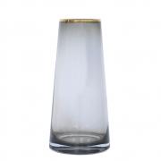 Vaso Cinza e Dourado Zimbri G 25 Cm
