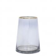 Vaso Cinza e Dourado Zimbri P 20 Cm