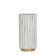 Vaso Marmorizado Branco e Dourado Bruma G 25 Cm