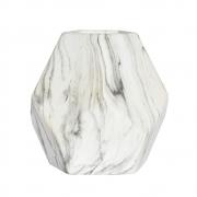 Vaso Marmorizado Branco e Preto Block G 23 Cm