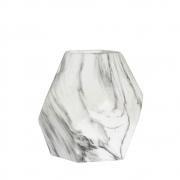 Vaso Marmorizado Branco e Preto Block P 18 Cm