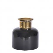 Vaso Preto e Dourado Bennet P 14 Cm