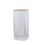 Vaso Transparente com Friso Dourado Quadra P 20 Cm
