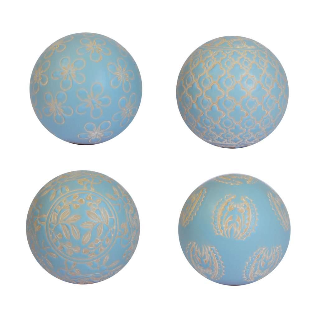 4 Bolas Decorativas de Porcelana Azuis Claras 10 Cm