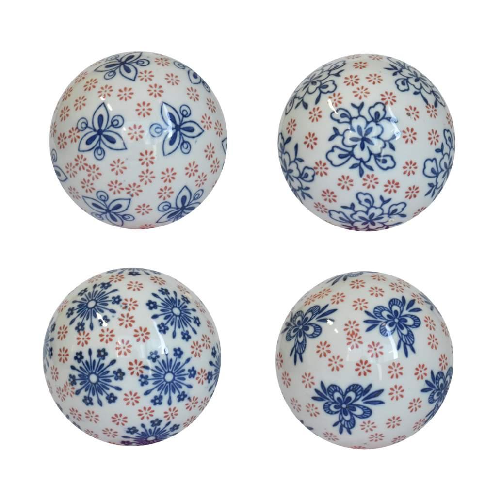 4 Bolas Decorativas de Porcelana Azuis e Vermelhas 10 Cm
