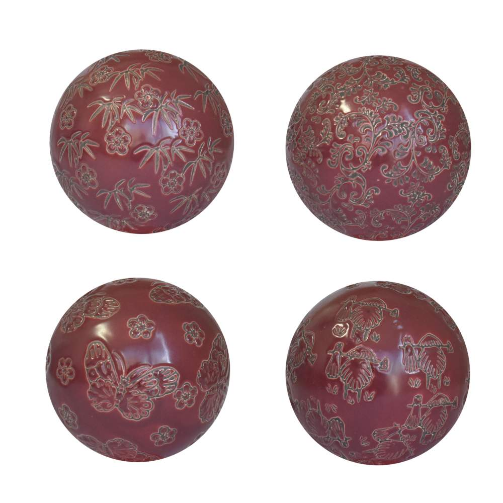 4 Bolas Decorativas de Porcelana Vermelhas 10 Cm