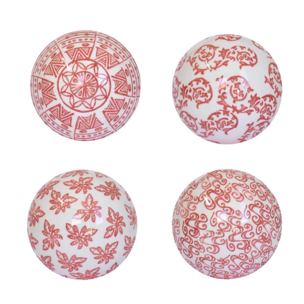 4 Bolas Decorativas de Porcelana Vermelhas e Brancas 10 Cm