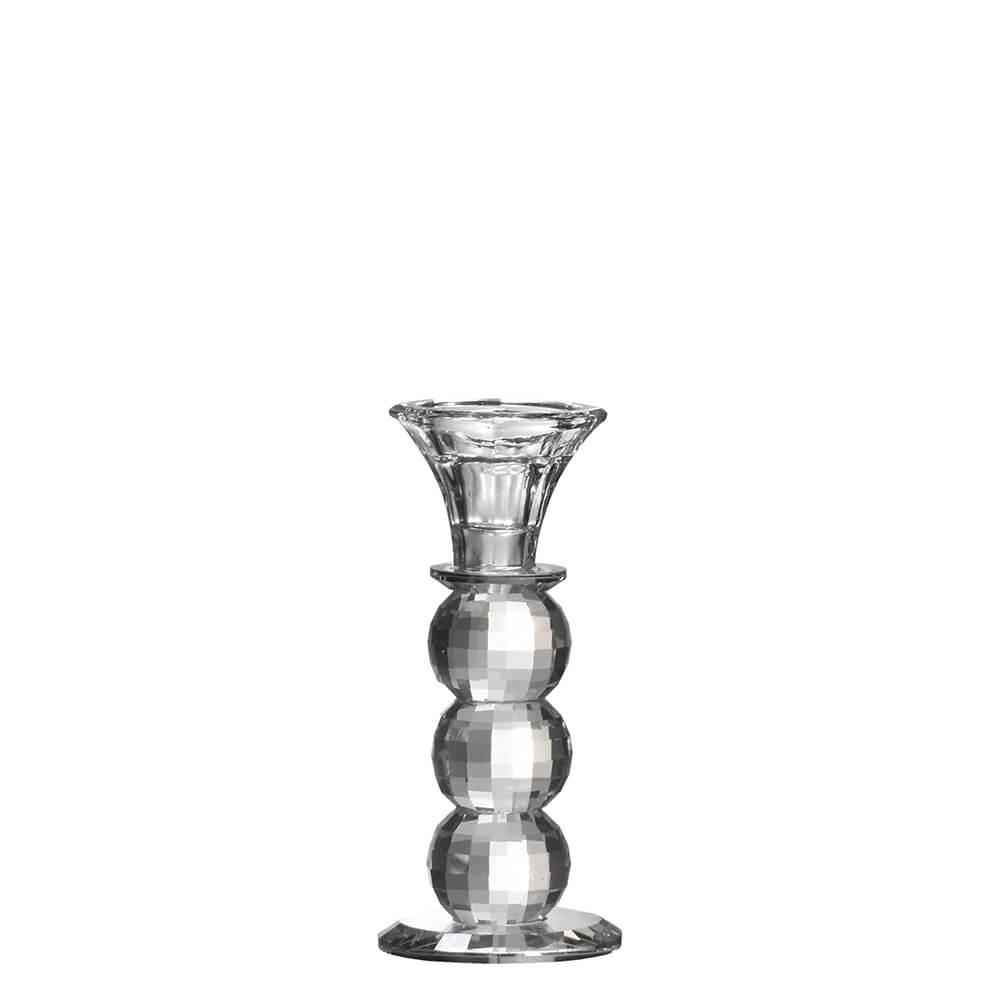 Castiçal de Cristal Lapidado Bauer G 15,5 Cm