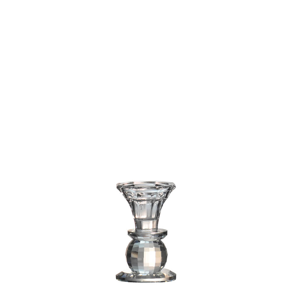 Castiçal de Cristal Lapidado Bauer P 9,5 Cm