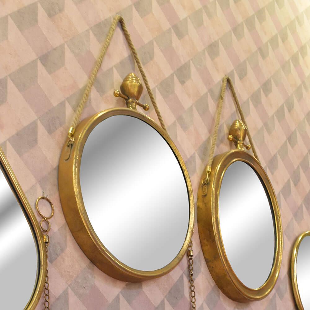 Espelho Dourado Redondo Basel 75,5 Cm