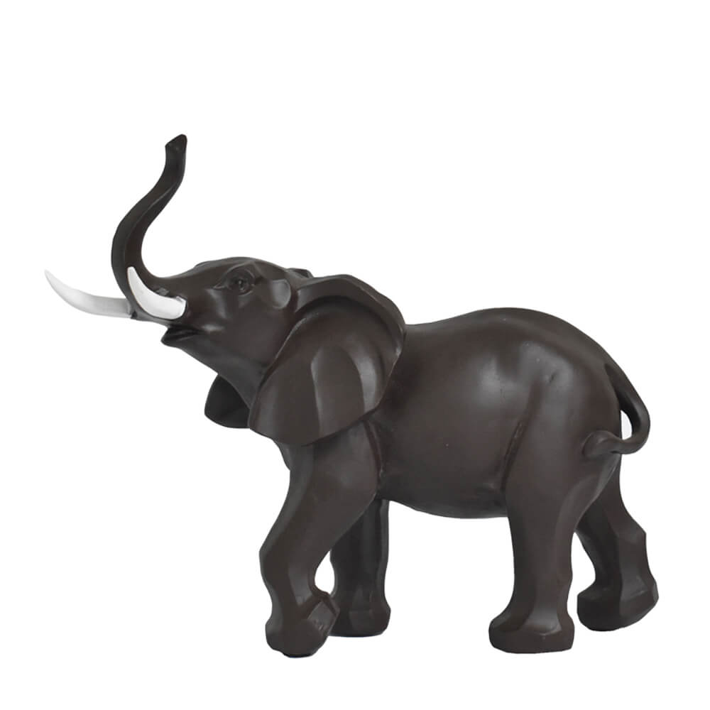 Estatueta Elefante Marrom Marfim 28 Cm