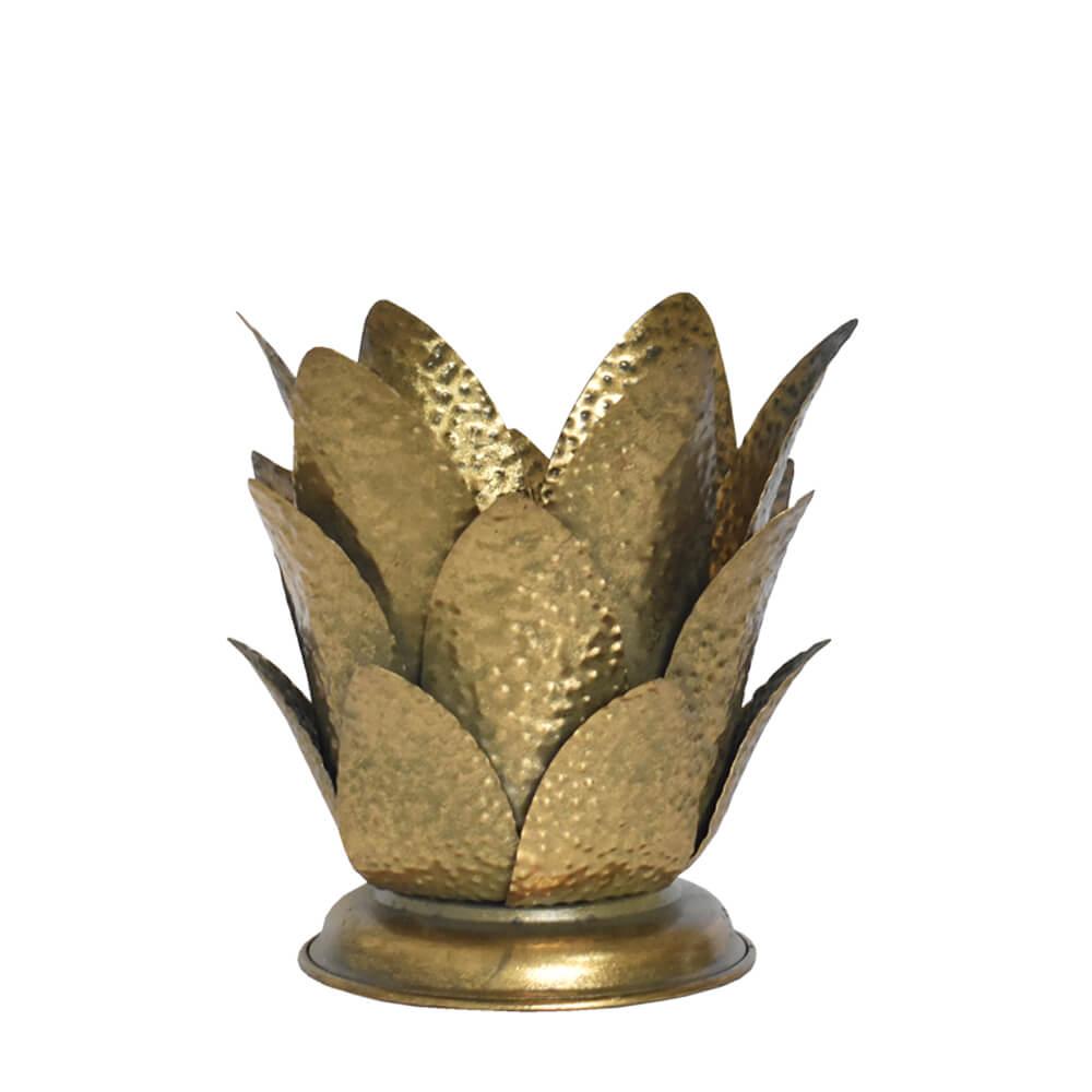 Estatueta Dourada Bromelis 20 Cm